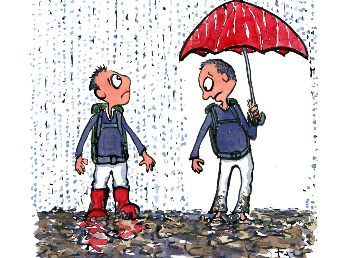 Two men in the mud and rain, one with red boots the other with a red umbrella, each one looking at what the other got. illustration by Frits Ahlefeldt