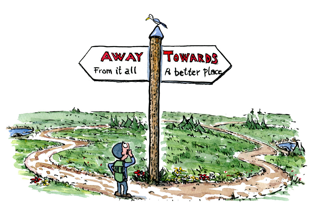 "Hiker standing looking at sign with one side saying ""away from it all"" and the other ""towards a better place"" illustration by Frits Ahlefeldt"
