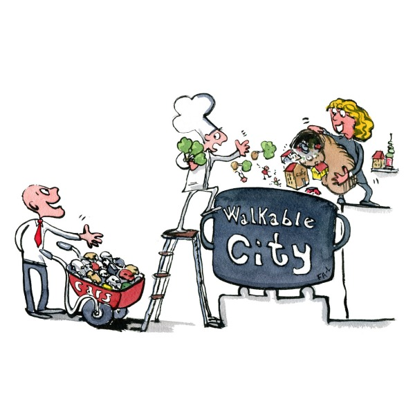 Two city planners adding ingredients to a recipe for a good city. putting trees, people and houses in while a man with tie propose them to add a wheelbarrow of cars. illustration by Frits Ahlefeldt