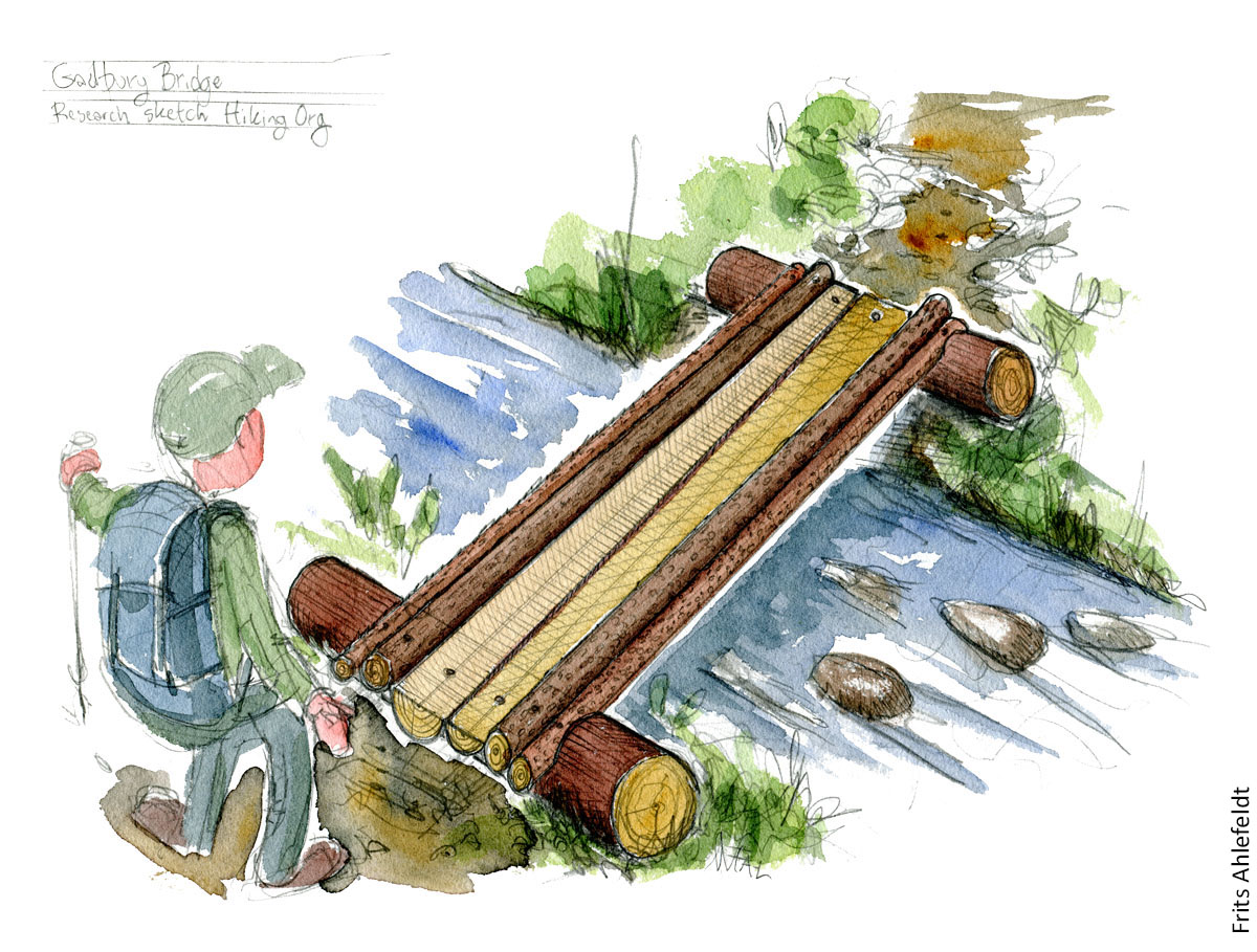 Hiker about to pass over simple wood trunk bridge on a hiking trail. pencil and watercolor illustration by Frits Ahlefeldt