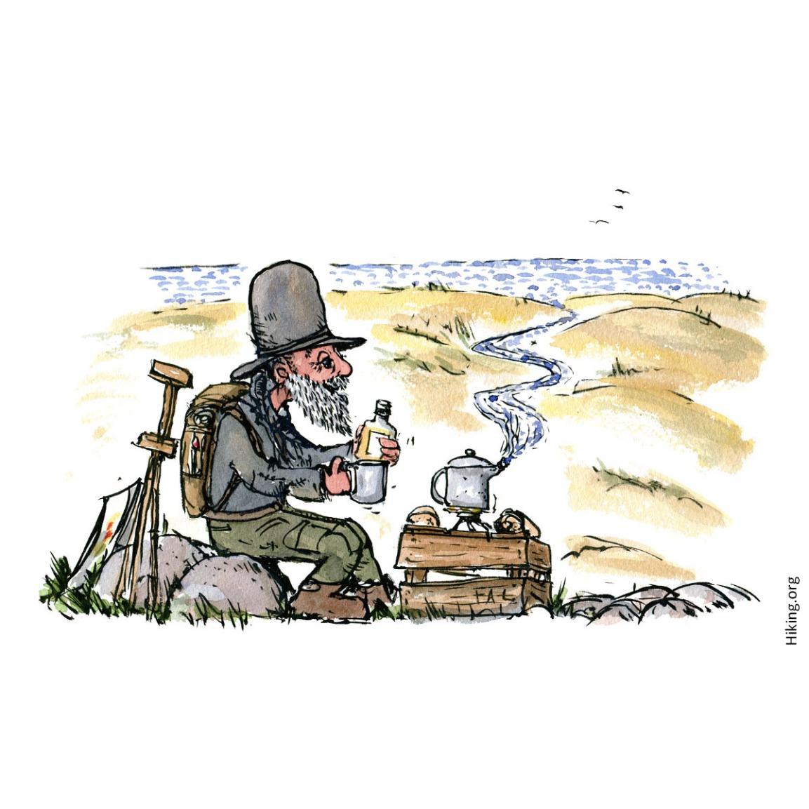 Old hiker taking abreak