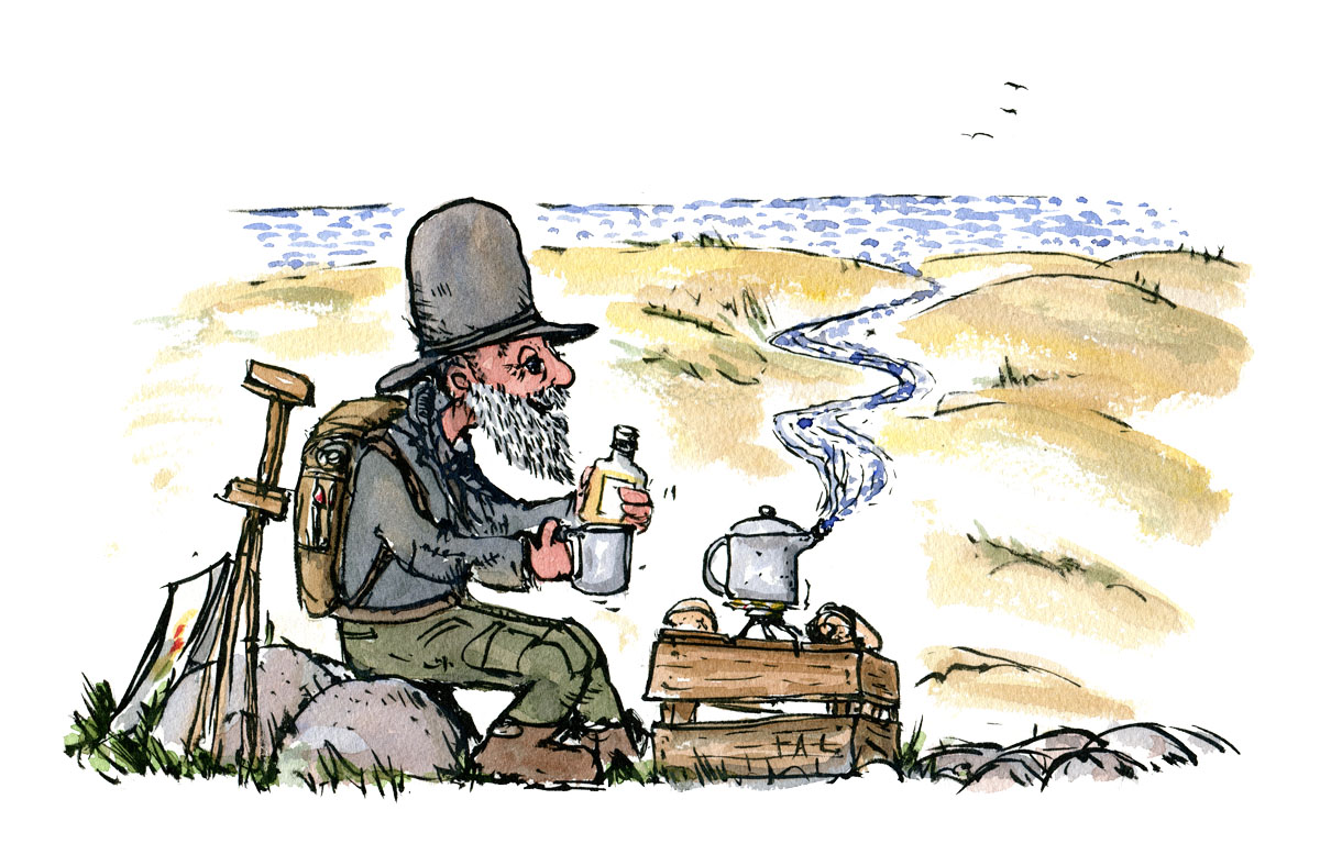 Old hiker sits down for his break. Drawing by Frits Ahlefeldt