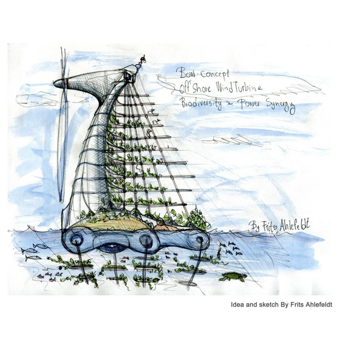 Bow wind turbine biodiversityconcept