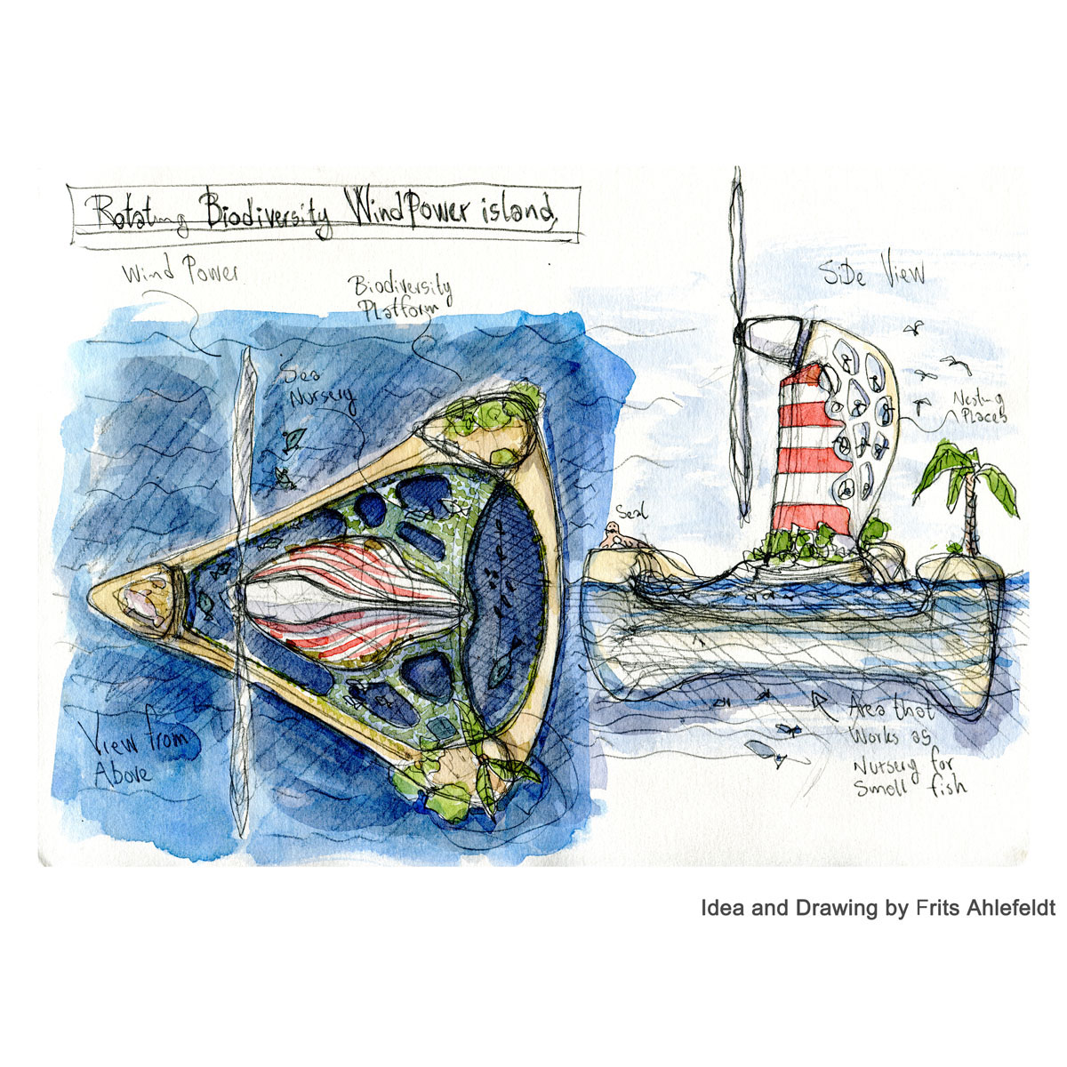 Floating biodiversity wind turbiine. off shore. Atoll version. Concept sketch watercolor and pencil. By Frits Ahlefeldt