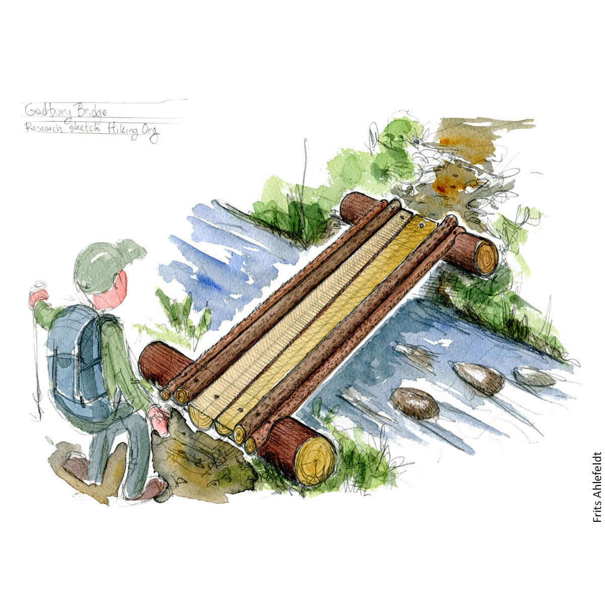Concept of a gadbury bridge. made of tree trunks. Drawing by Frits Ahlefeldt. Hiking.org