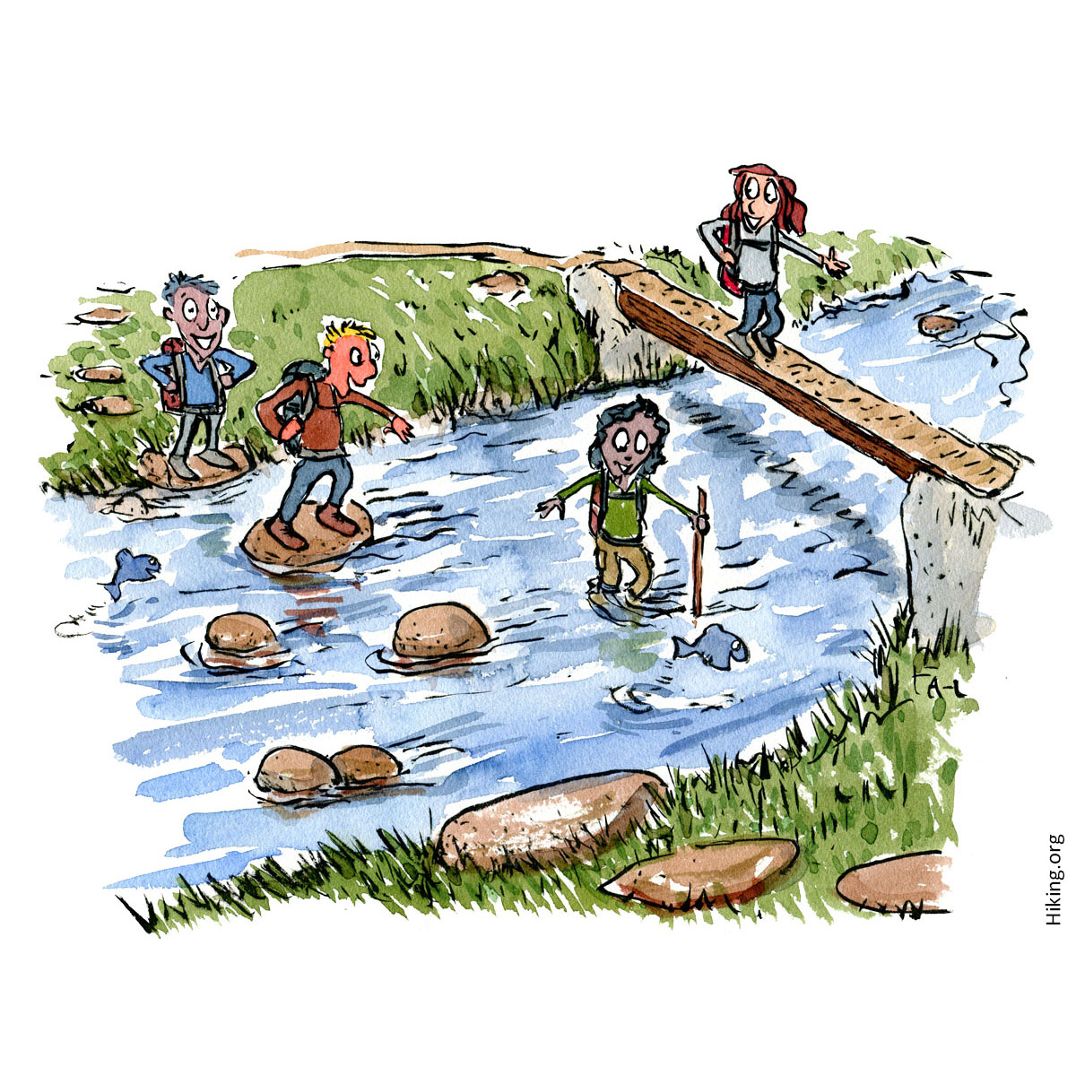 Group of people crossing a river with different strategies and places. Illustration by Frits Ahlefeldt