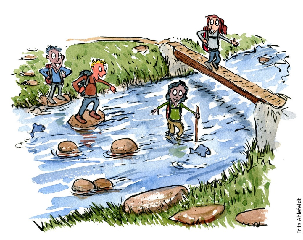 Group of people crossing a stream in different ways. Illustration by Frits Ahlefeldt
