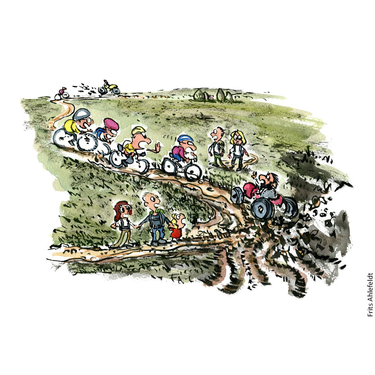 Drawing of hikers and mountainbikes and all-wheel vehicles on the same trail. Traildesign hiking Illustration by Frits Ahlefeldt