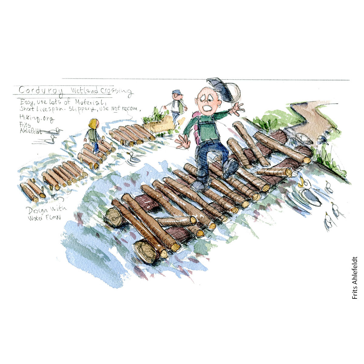 Concept sketch of line of tree trunks over wet area. Drawing by Frits Ahlefeldt. Hiking.org