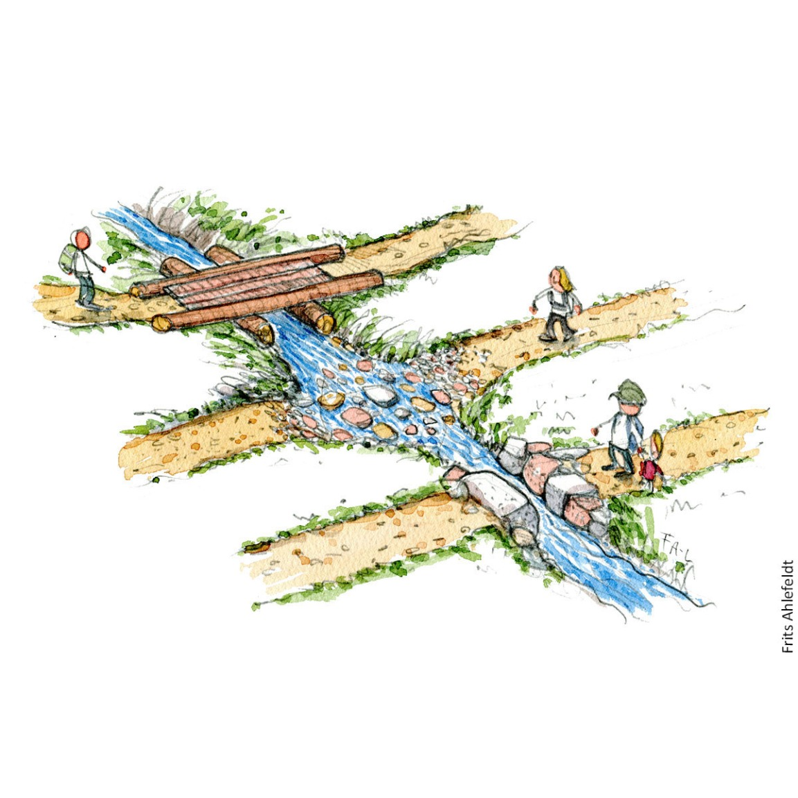 Stream with three different crossings: Drawing by Frits Ahlefeldt. Hiking.org