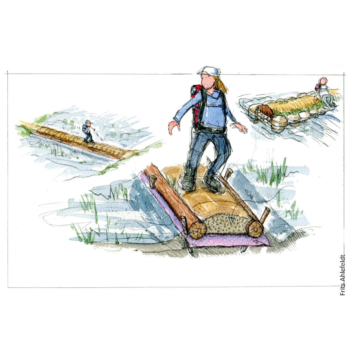 Illustration of a trail over wet area ( turnpike concept. Drawing by Frits Ahlefeldt. Hiking.org