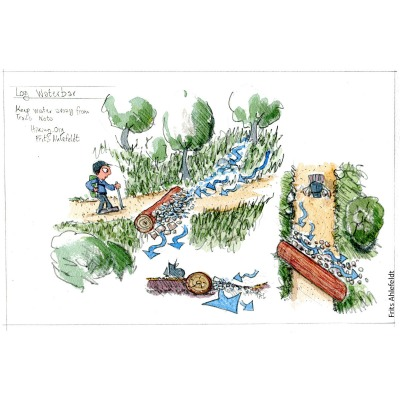Sketch of a waterbar trail drain Drawing by Frits Ahlefeldt. Hiking.org