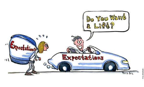 "Drawing of a hiking girl with a huge backpack with the word ""expectations"" written on it. And a guy offering her a ride in a fancy car, with the word expectations written on it. Illustration by Frits Ahlefeldt"
