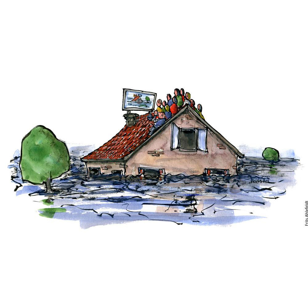 Drawing of a group of people sitting on top of a roof of a flooded house. Watching a screen, maybe for news, information or entertainment, while waiting for the water to fall. Illustration by Frits Ahlefeldt.