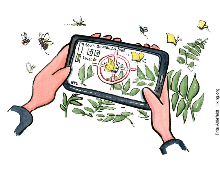 Illustration of phone with pokemon like biodiversity game on it. Biodiversity drawing by Frits Ahlefeldt