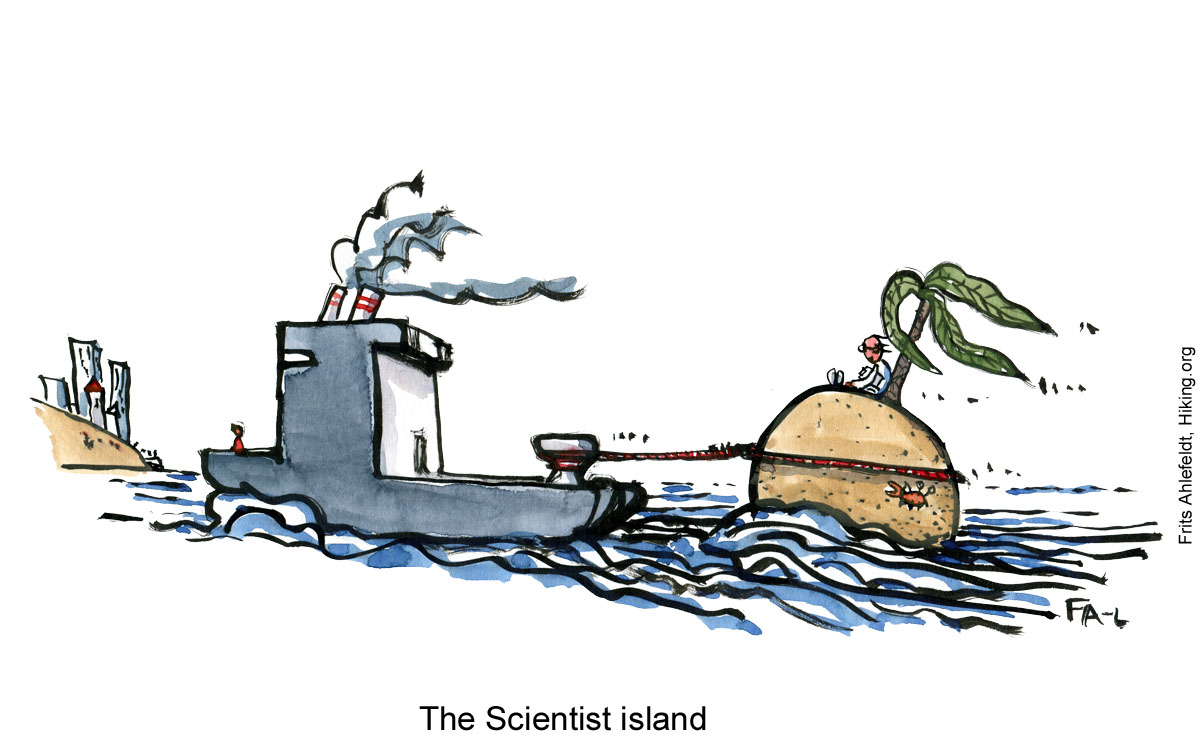 Drawing of a lone scientist on a small island, beeing dragged by a ship towards land. Illustration by Frits Ahlefeldt