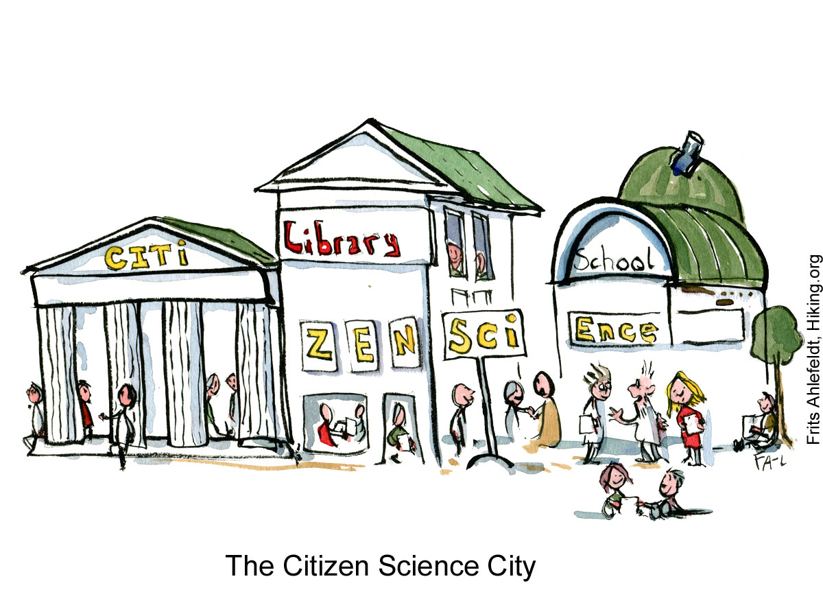 Drawing of a city with citizen science written over several buildings and people talking. Illustration by Frits Ahlefeldt
