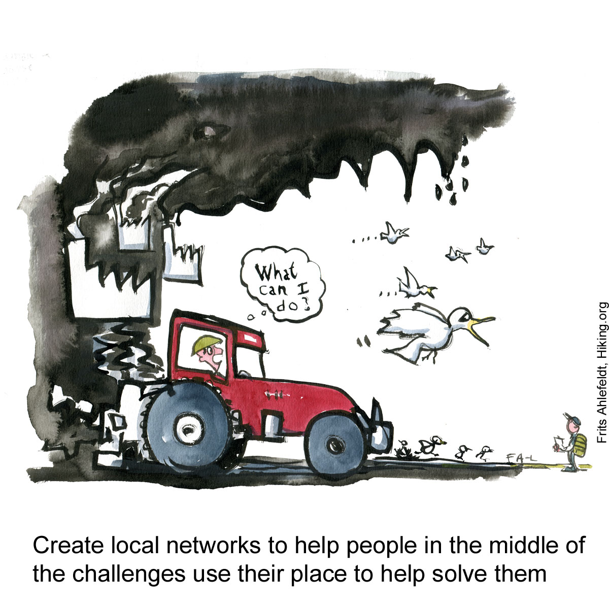 "Drawing of a tractor and factories making a mouth of black smoke, farmer thinking ""what can I do?"" Illustration by Frits Ahlefeldt"