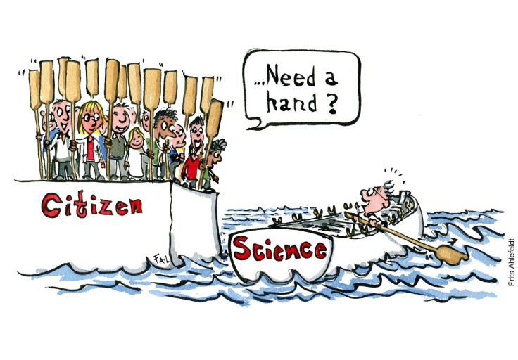 Drawing of a group of people on land asking a scientist in a rowboat alone, not getting anywhere, if he needs a hand. Citizen Science illustration by Frits Ahlefeldt