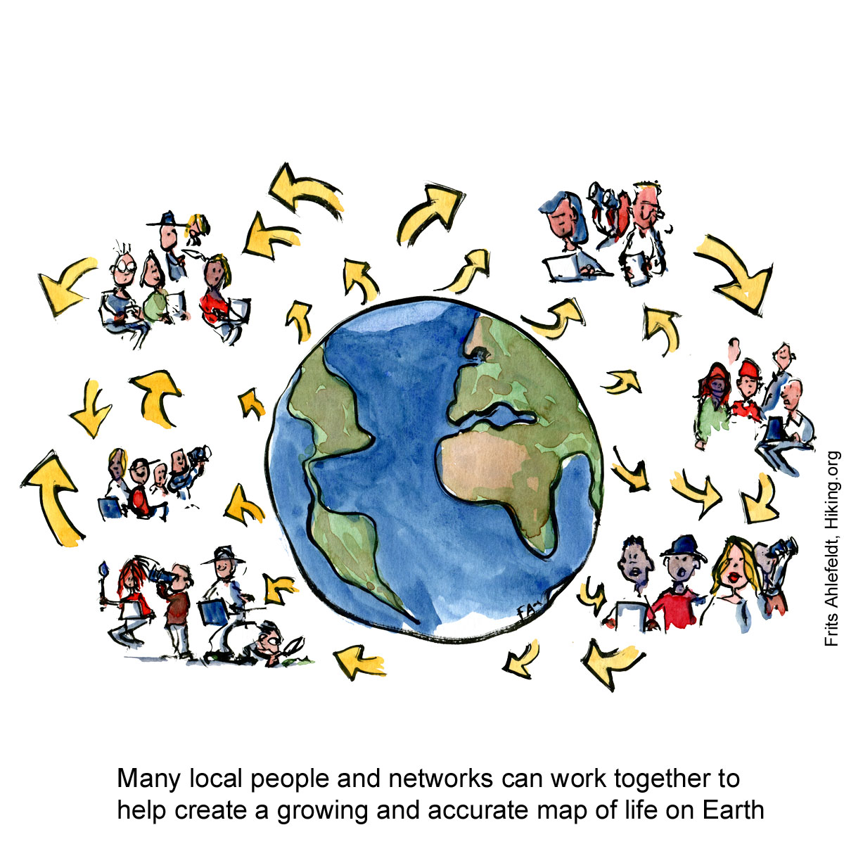 Drawing of planet Earth with people working in groups around it to innovate, collect and share understandings. Illustration by Frits Ahlefeldt