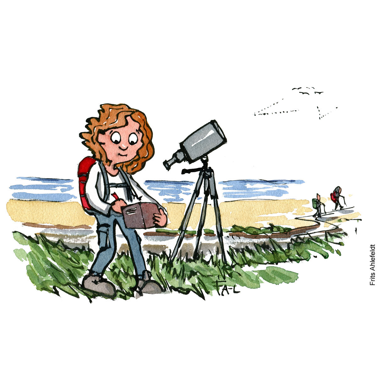 Drawing of a hiker with a binoculars, taking notes of birds. Citizen Science illustration by Frits Ahlefeldt