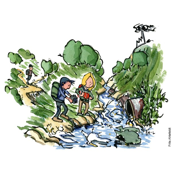 Drawing of two hikers watching a stream where pollution has killed birds and fish. documenting it. Citizen Science illustration by Frits Ahlefeldt