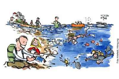 Drawing of people taking test along the shore and in sea. Illustration by Frits Ahlefeldt