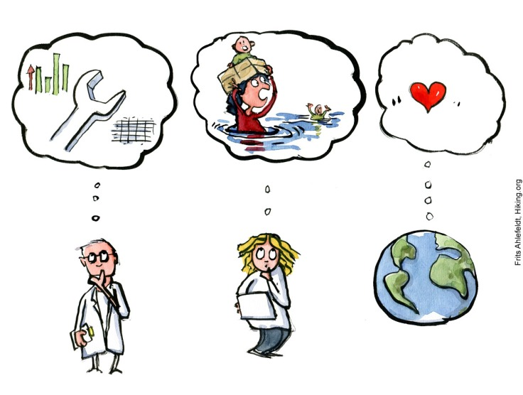 Drawing of a scientist thinking in data, a citizen thinking empathy to a flooded person and planet Earth thinking a heart. Illustration by Frits Ahlefeldt