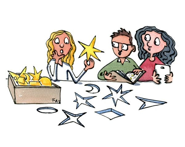 Drawing of girl with a star in her hand looking at different options to classify it, while two others participate. Citizen Science illustration by Frits Ahlefeldt