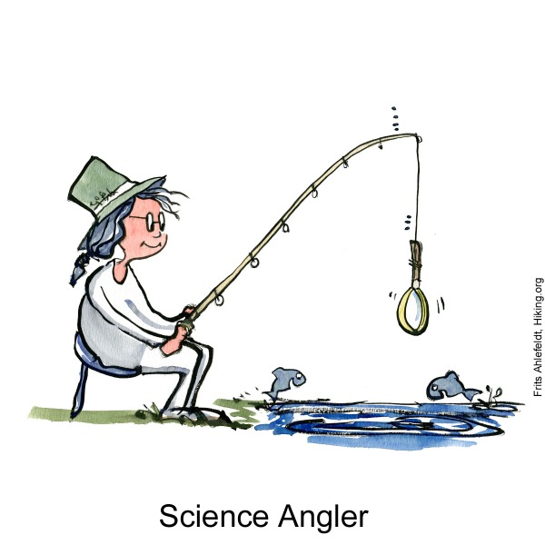 Drawing of a scientist fishing with a magnifying glass. Illustration by Frits Ahlefeldt