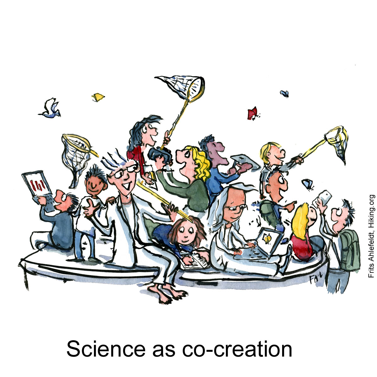 "Drawing of group of people with scientists sitting together innovating in ""science jam session"", hiker included. Illustration by Frits Ahlefeldt"