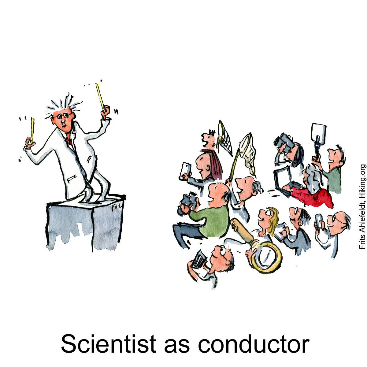 Drawing of a scientist as a music conductor. Illustration by Frits Ahlefeldt