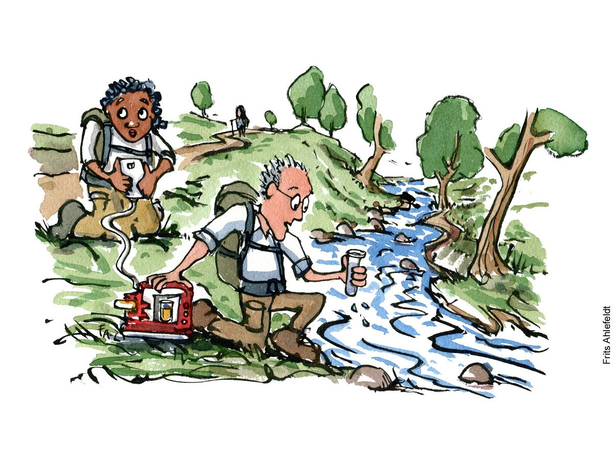 Illustration of hiker scientists taking samples from a stream and sending data. Environment scientific Science drawing by Frits Ahlefeldt