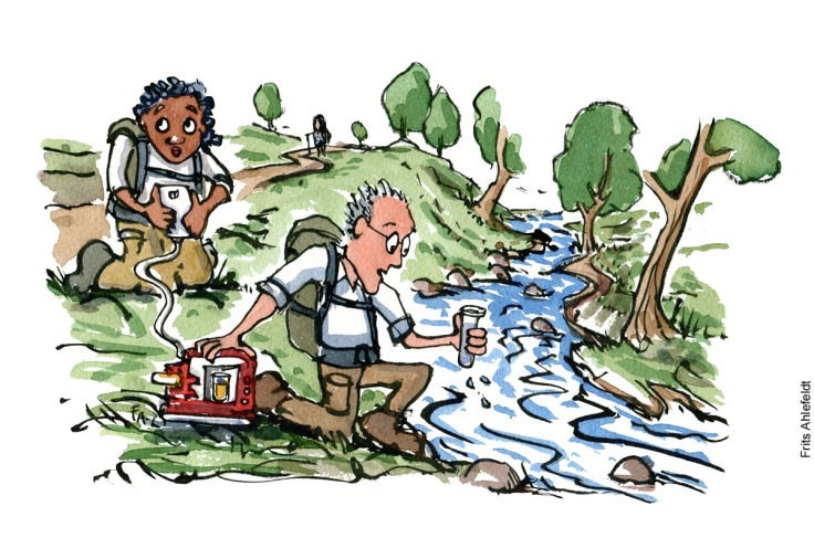 Illustration of citizen science hikers working along a stream. environment illustration by Frits Ahlefeldt