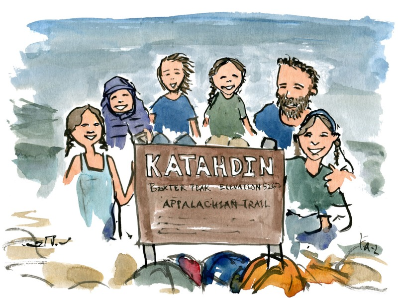 Drawing of the Malone family on mount Katahdin-
