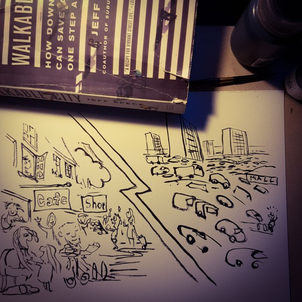 Ink sketch of two kinds of city the walkable city and the car dependent city. Illustration by Frits Ahlefeldt