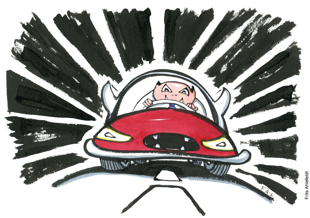 drawing of a man in red sports car looking angry. Car rage illustration by Frits Ahlefeldt