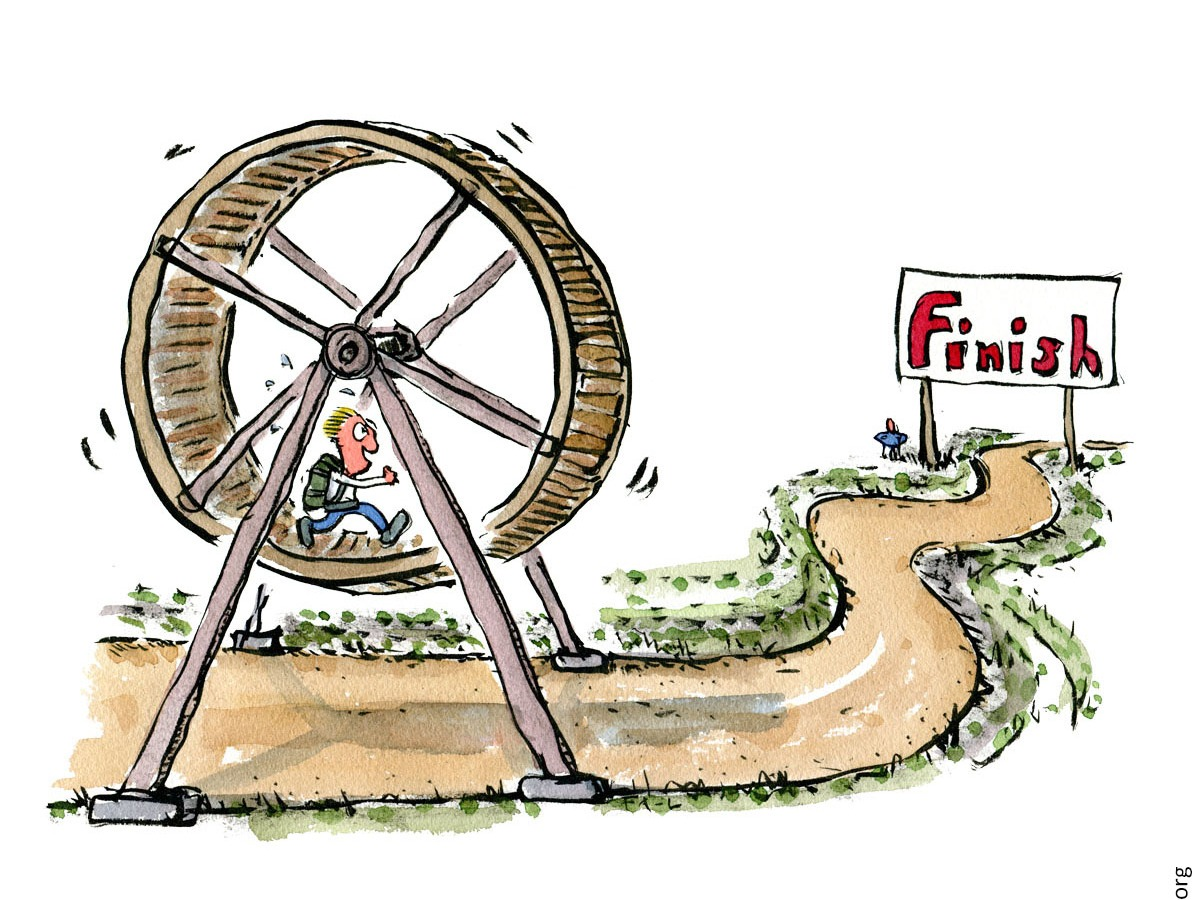 Cartoon drawing of a hiker walking without making any progress because he is in a huge hamster wheel. Illustration by Frits Ahlefeldt