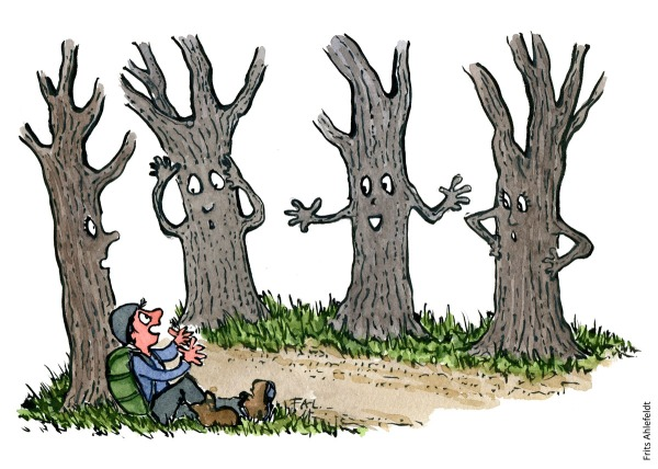 Illustration of a hiker talking with a group of trees. Drawing by Frits Ahlefeldt