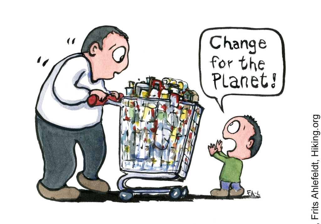 """Drawing of a kid stopping a man with a filled shopping trolley, saying """"change for the planet"""". With the text EarthDay under. Illustration by Frits Ahlefeldt"""