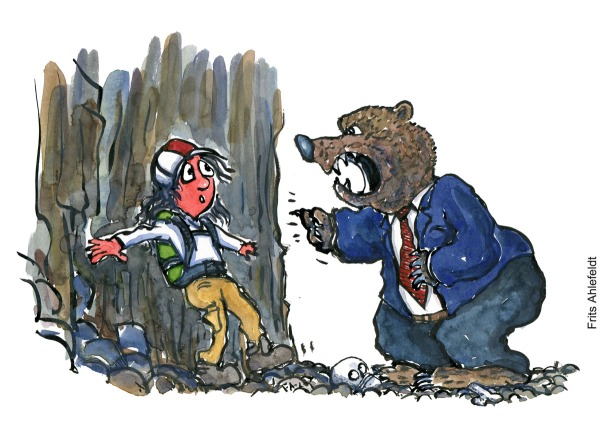 Drawing of a hiker up a rock wall with a bear wearing tie and suit, yelling at him. Hiking illustration by Frits Ahlefeldt