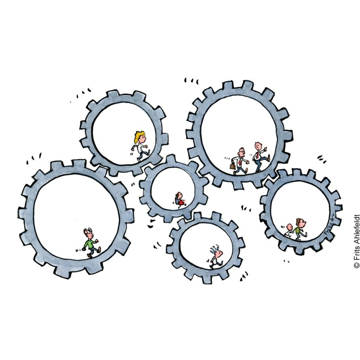illustration of a group of cogwheels, with hiker in each one. Hiking drawing by Frits Ahlefeldt