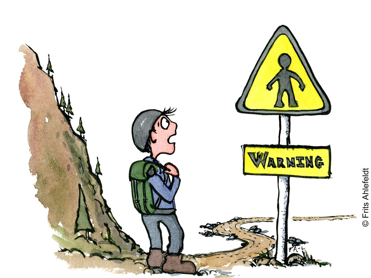 Hiker by a warning sign with a person on it. Hiking illustration by Frits Ahlefeldt