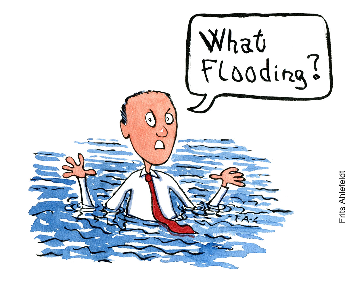 "Man in water to wrist saying ""what flooding"" - illustration by Frits Ahlefeldt"